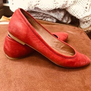Biala Red Leather Loafers/Slightly Pointed Toe/GUC